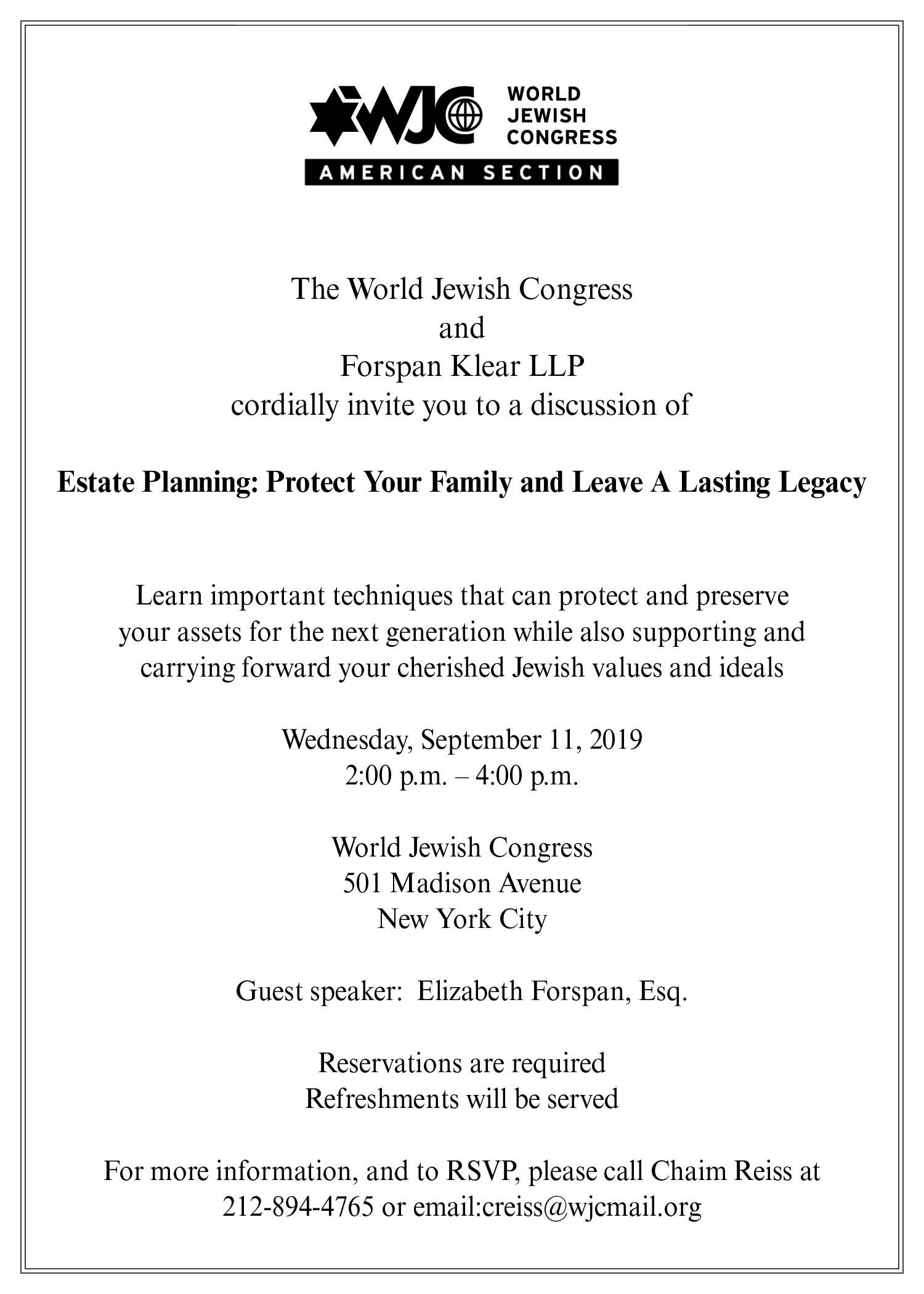 The World Jewish Congress & Forspan Klear LLP Discussion