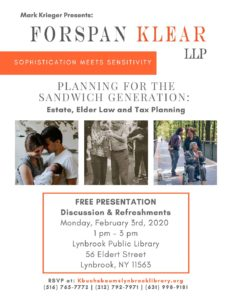 Planning for the Sandwich Generation: Estate, Elder Law and Tax Planning @ Lynbrook Public Library